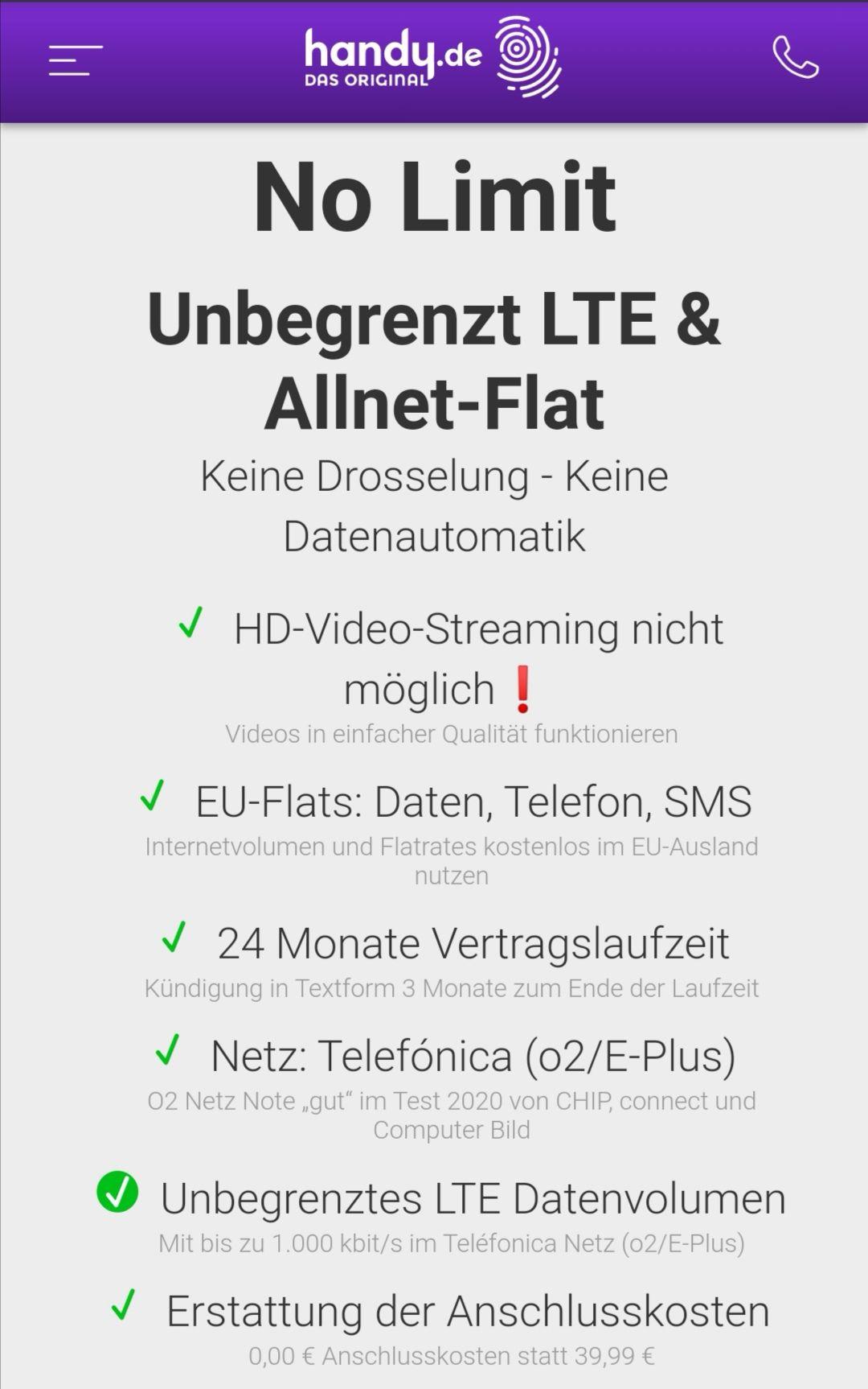 Unbegrenzt LTE (1Mbit/s) o2 Netz, Allnet Flat 9,99 €, 0 € Anschluss, 24 Monate [handy.de]