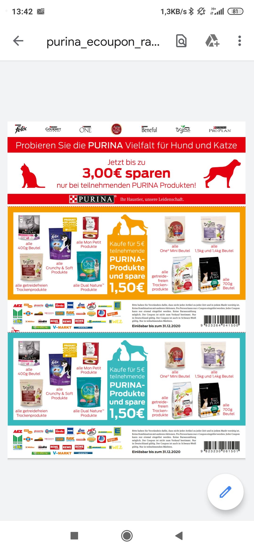 Purina Katzen und Hundefutter Coupon/ Für 5 Euro kaufen und bis zu 3 Euro sparen.