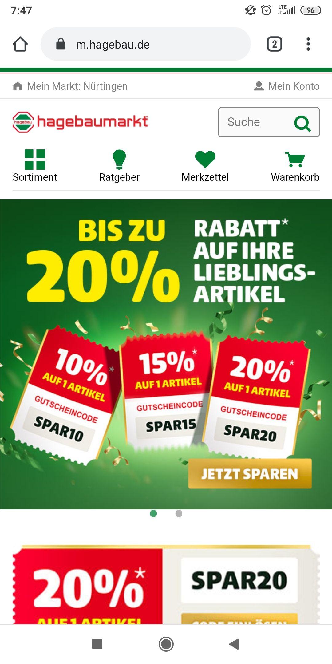 Hagebaumarkt online bis 20%
