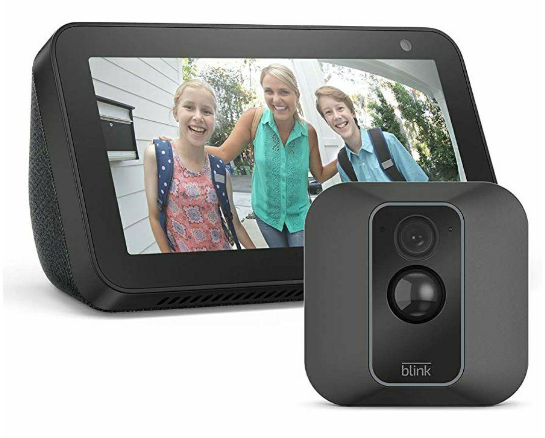 Blink XT2 - smarte HD Überwachungskamera (Alexa) für Außen & Innen mit WLAN, Bewegungssensor & Gegensprechfunktion + Echo Show 5