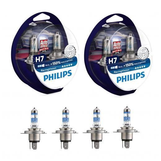 2x 2 Philips RacingVision +150% H7 Scheinwerferlampe 12972RVS2, (2xDoppelset)