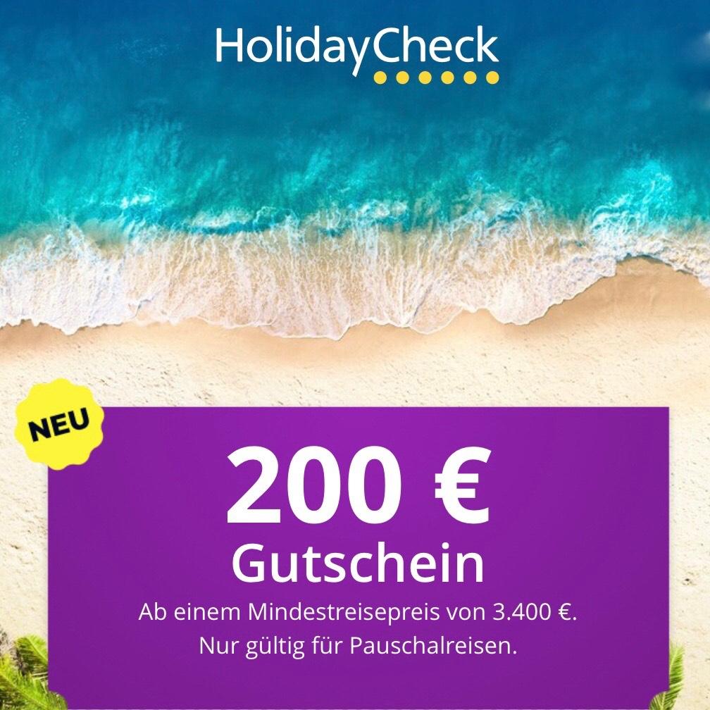 HolidayCheck 200,- € Gutschein auf Pauschalreisen