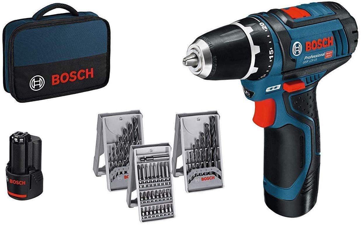 Bosch Professional Akkuschrauber GSR 12V-15 (2x2,0 Akku, 39tlg. Zubehör-Set, SchraubenØ max: 7mm, in Tasche) [Amazon]