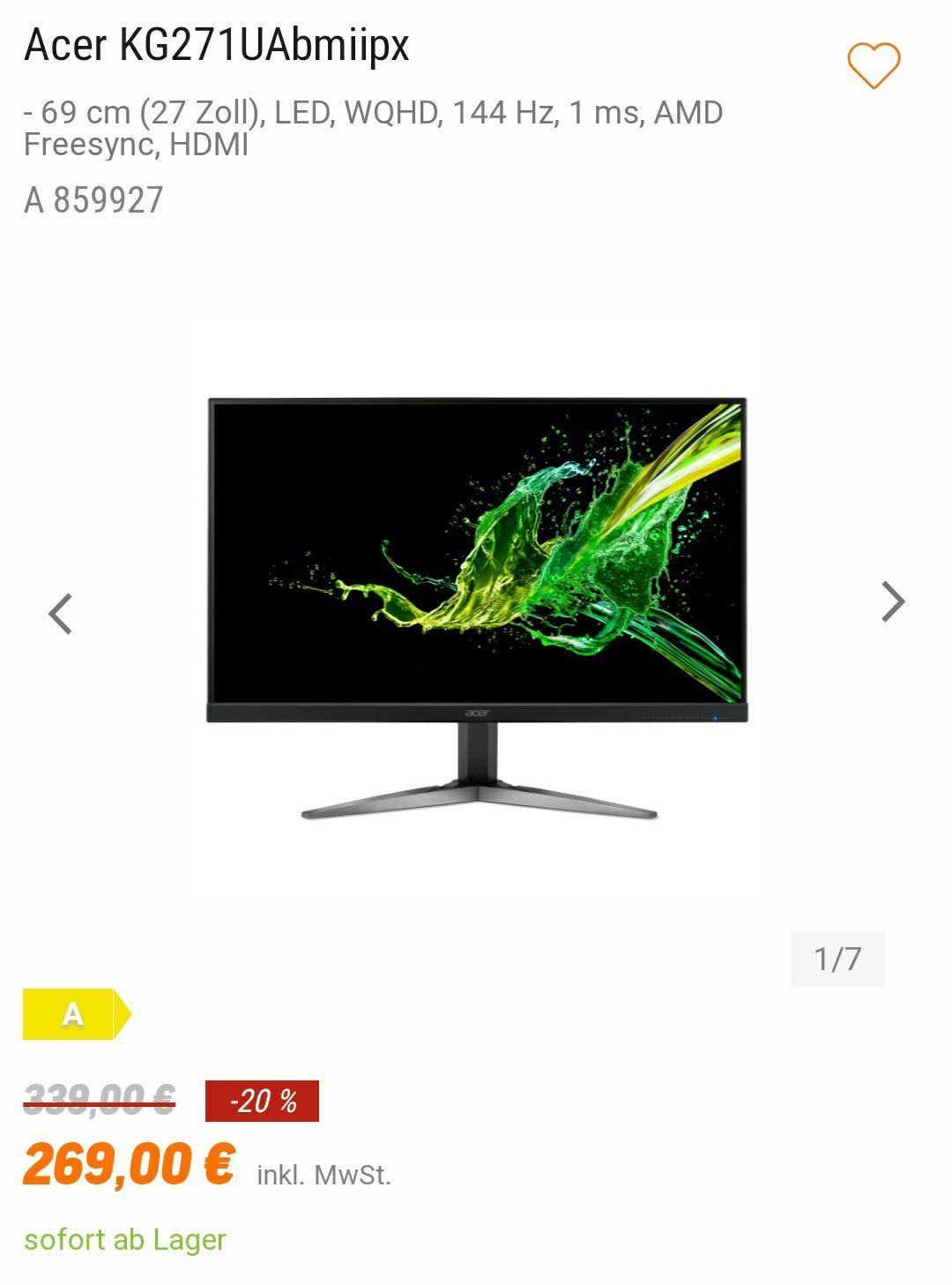 "Acer KG271UAbmiipx Monitor (WQHD, 27"", TN, 144Hz, FreeSync, DP)"