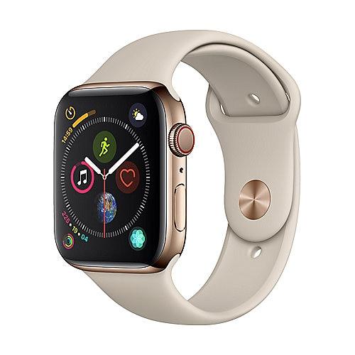 Apple Watch Series 4 (GPS + Cellular) Edelstahl 44mm gold mit Sportarmband steingrau (MTX42FD/A)