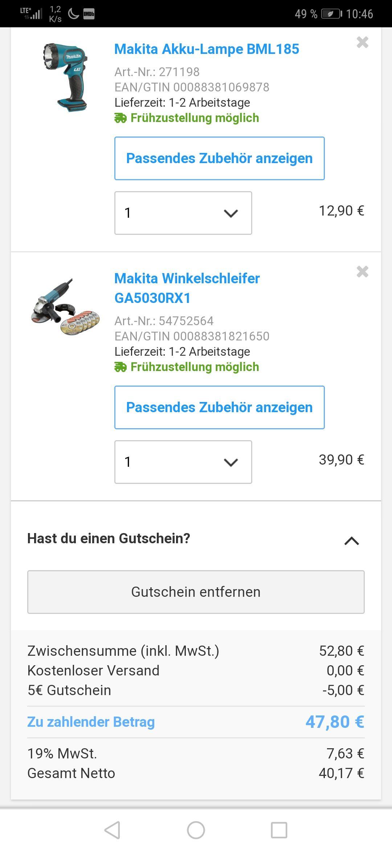 Für Makita Fans! Makita Akku-Lampe BML185 & Makita Winkelschleifer GA5030RX1