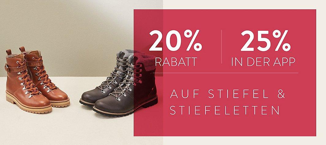 Zusätzliche 25% Rabatt auf bereits reduzierte Stiefel/Stiefeletten in der Mirapodo App