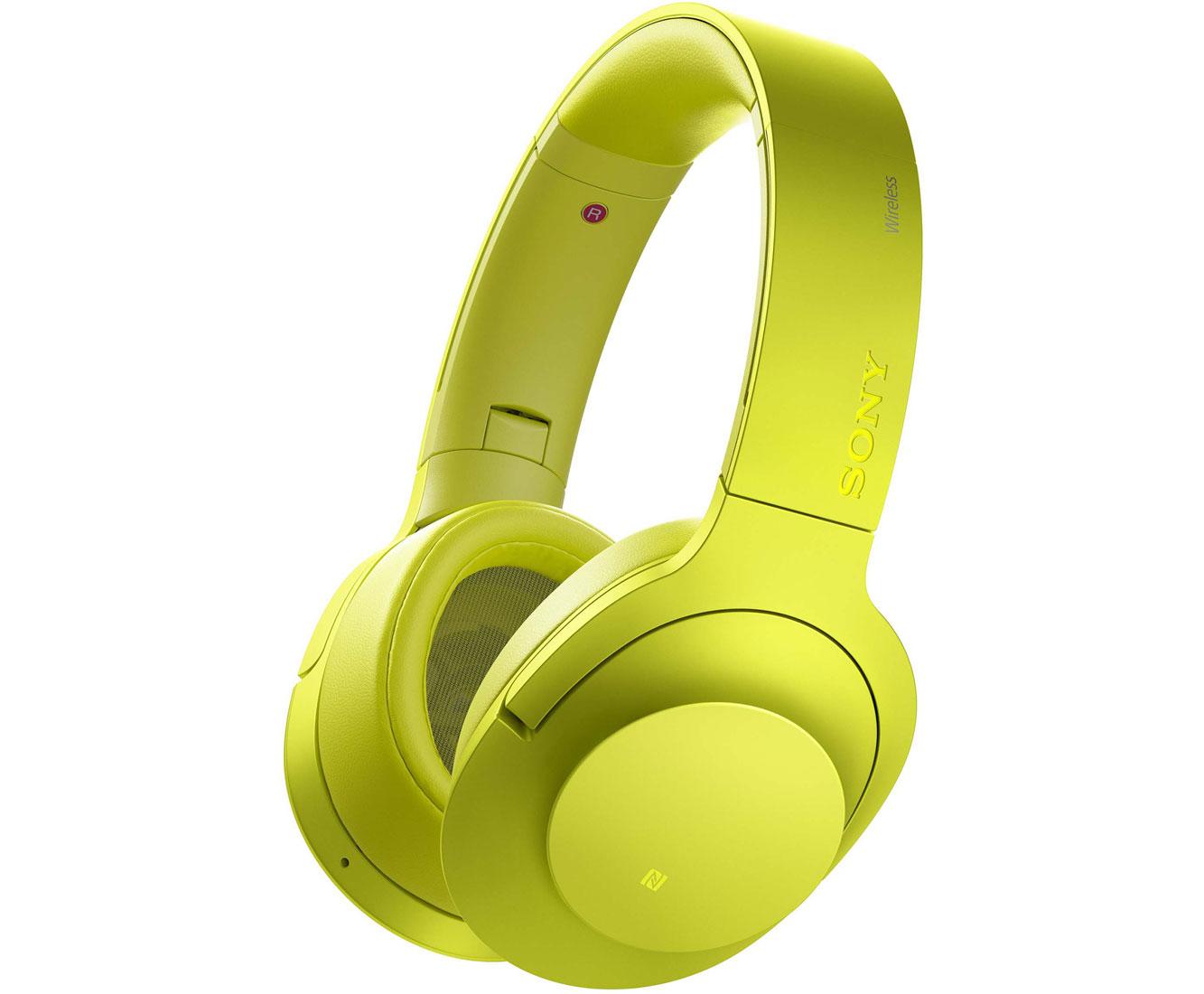 ANC-Kopfhörer Sony h.ear on Wireless NC MDR-100ABN gelb (Bluetooth inkl. LDAC, NFC, Over-Ear, Micro-USB, Klinke optional, faltbar)