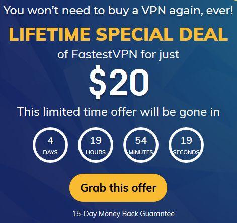 FastestVPN Lifetime Account für 18$ (10 Geräte, 31+ Länder, keine Logs, P2P-optimiert, Verschlüsselung, Browser-Erweiterungen & Apps)