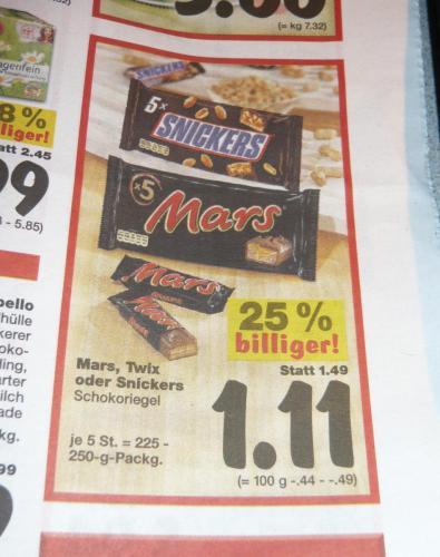 [Offline,Lokal] Mars, Snickers oder Twix 5er-Packung bei Kaufland für 1,11 €