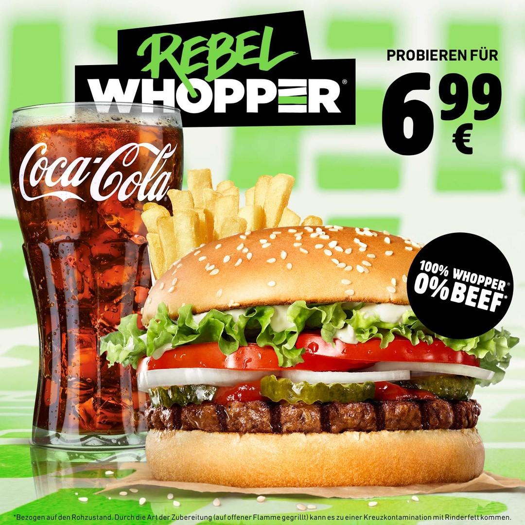 [Burger King] Rebel Whopper + große KING Pommes + 0,5 L Coca-Cola