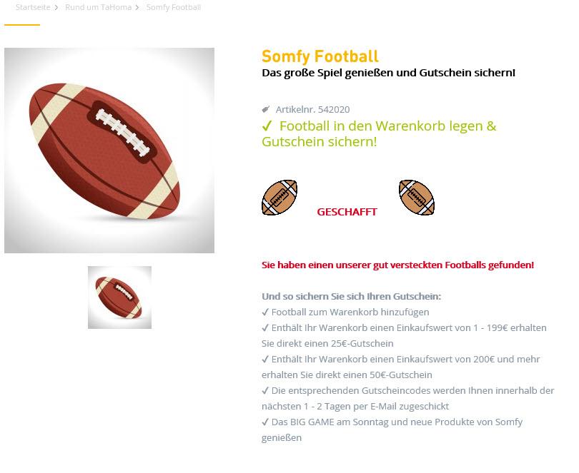 """Super Bowl trifft super hohl Aktion Somfy 25 € Gutschein ab """"1 €"""" (Update: 30€ MBW)!"""