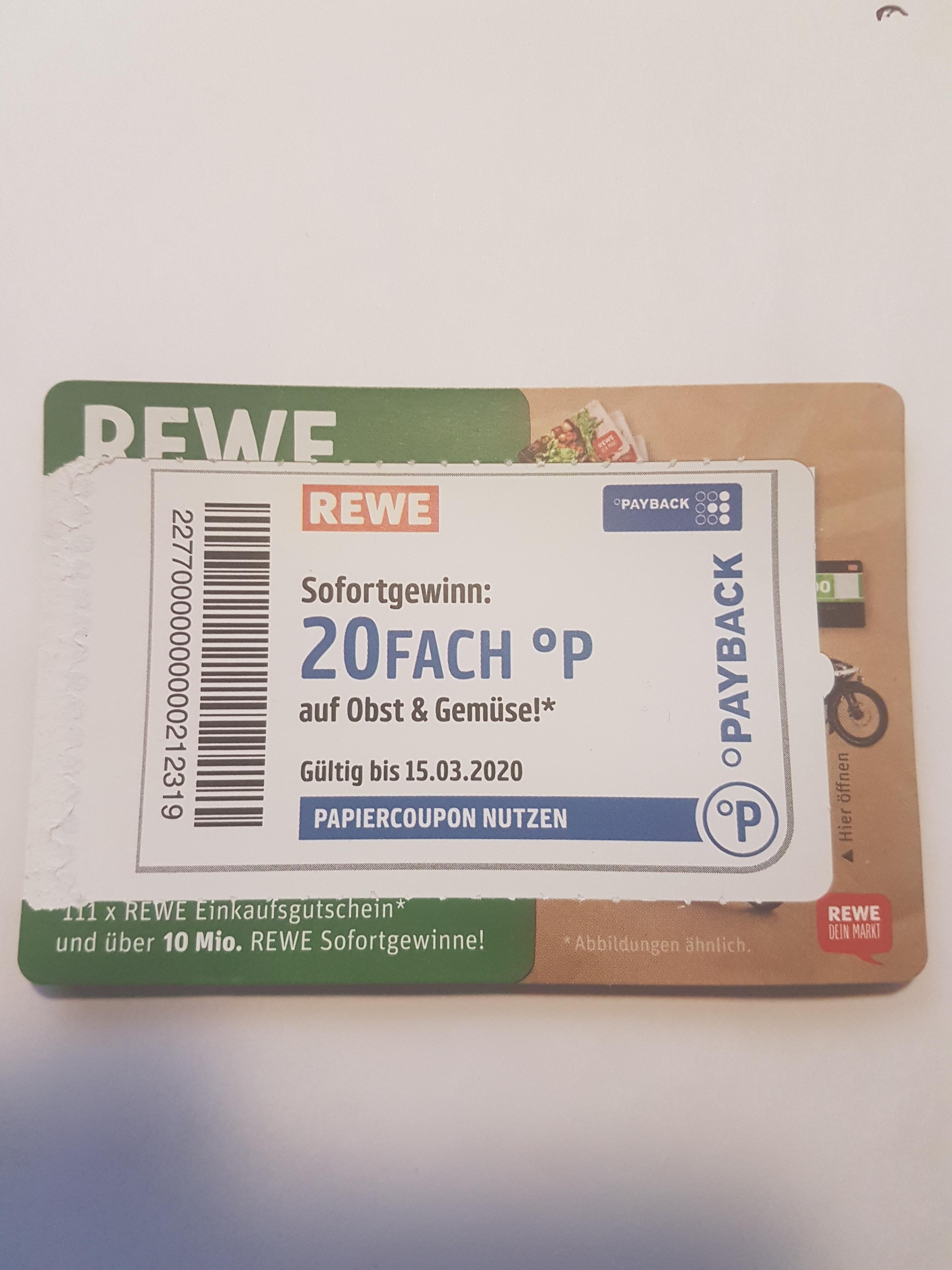 20fache Payback Punkte bei REWE auf Obst und Gemüse gültig bis 15.03.2020