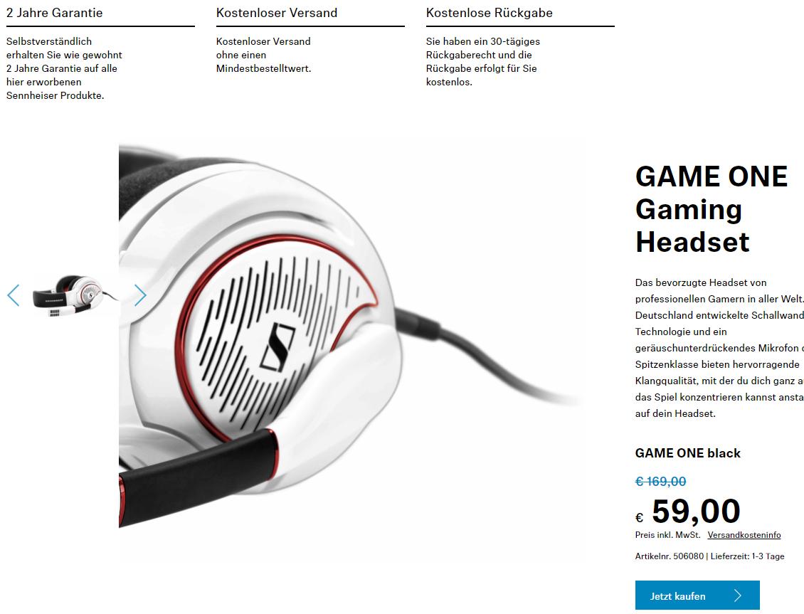 [Für Studenten] Sennheiser Game One Headset