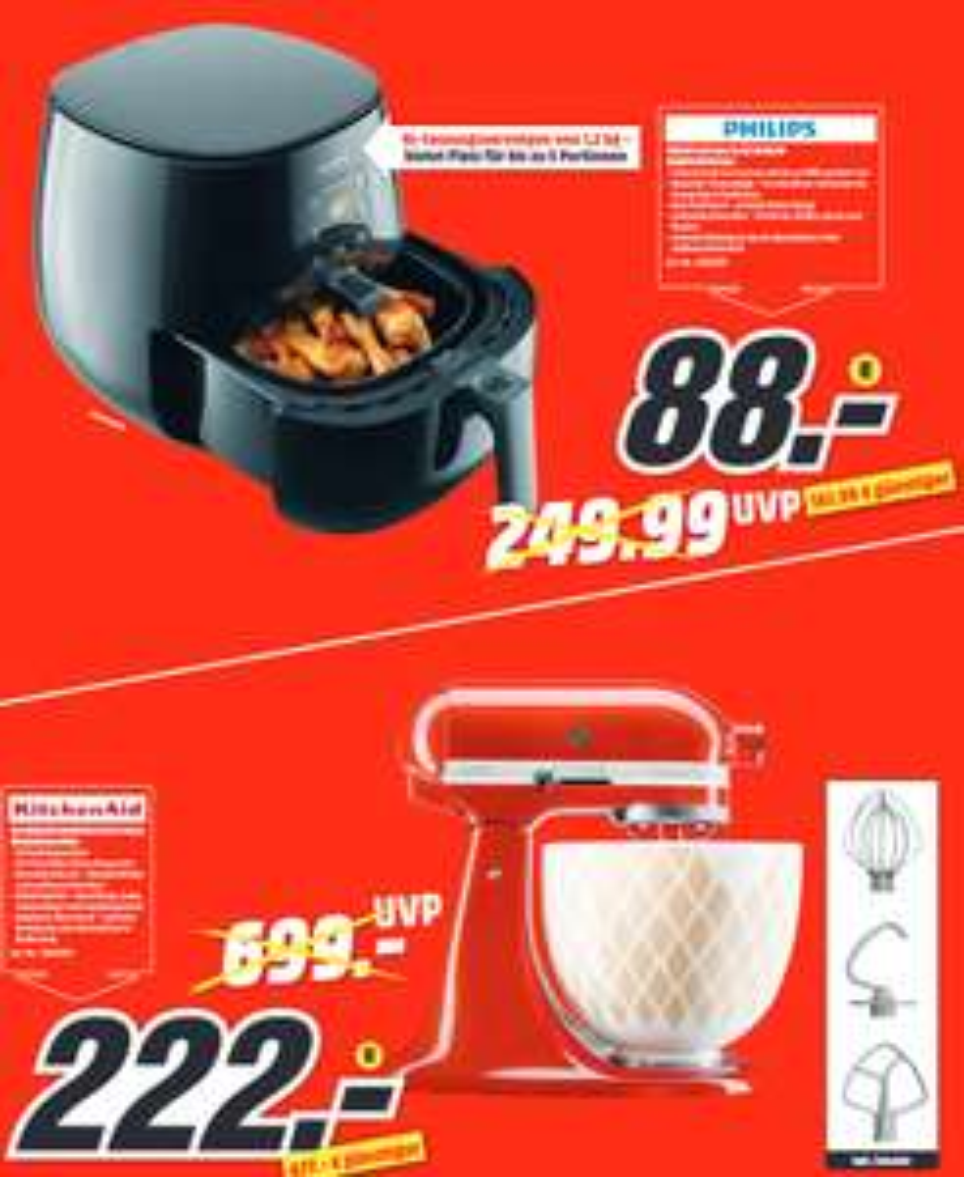 [lokal: MM Berlin-Waltersdorf] Philips HD9260/90 Airfryer XL Essential Heißluft-Fritteuse =88€ | KitchenAid Artisan 5KSM156 300W =222€