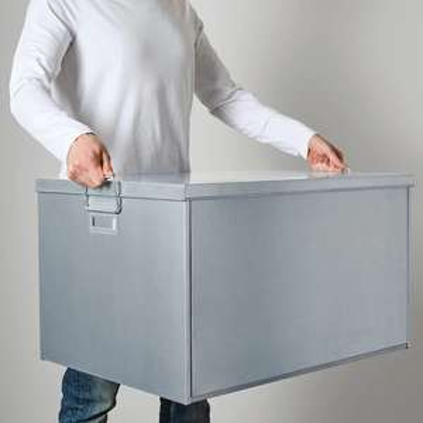"[Ikea Berlin-Tempelhof] Große Box mit Deckel ""Ombyte"", verzinkt, 50x70x40 cm"