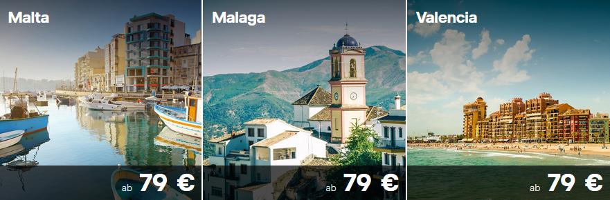 Lufthansa Flüge von FRA & MUC nach Malta, Malaga und Valencia für 79€ bzw. 69€ mit Gutschein
