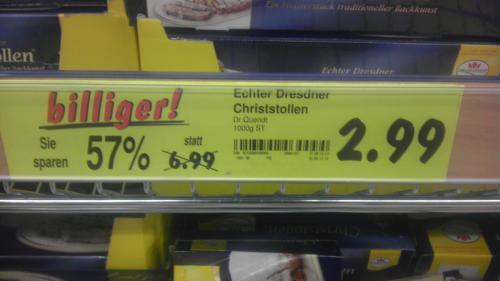 Dresdner Christstollen 1 Kg Kaufland für 2,99 statt 6,99 Euro