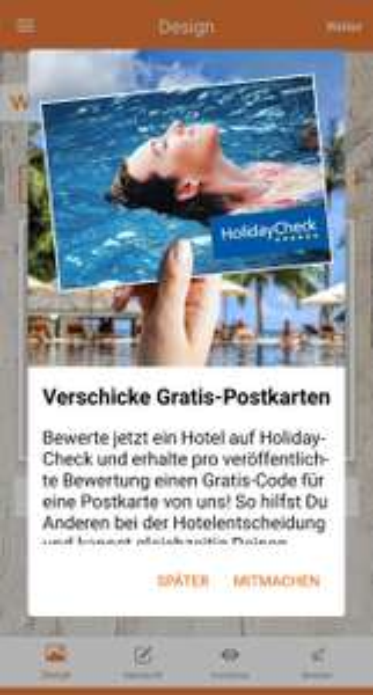 Gratis Postkarte bei Postando bei Hotelbewertungen über HolidayCheck