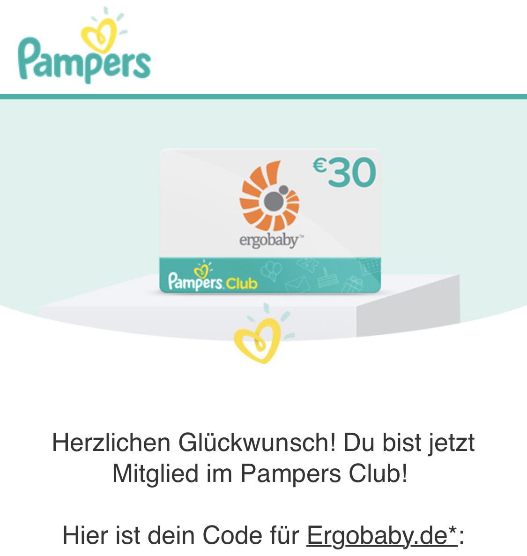 30€ Ergobaby Gutschein bei Anmeldung im Pampers Club