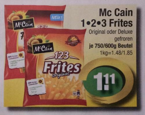 [EDEKA center] Mc Cain 123 Deluxe Frites für 0,11 EUR