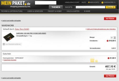 Samsung 840 Pro Series 512GB Basic für 467,10€ oder 256GB für 220,98€ @meinpaket.de plus AC3