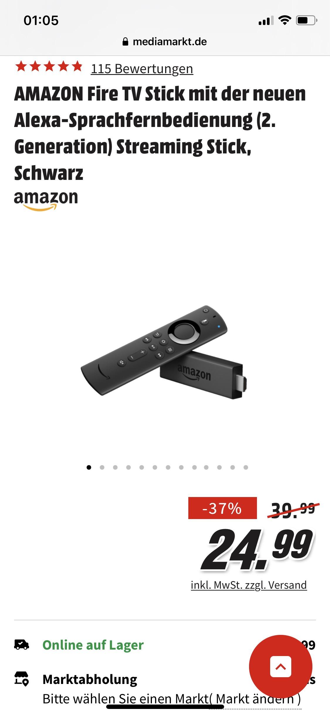 AMAZON Fire TV Stick mit der neuen Alexa-Sprachfernbedienung (2. Generation) Streaming Stick, Schwarz
