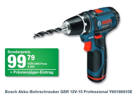 Bosch Akku-Bohrschrauber GSR 12V-15 Professional (2* 2,0 Ah-Li-Ion-Akku + Koffer) Y60186810E
