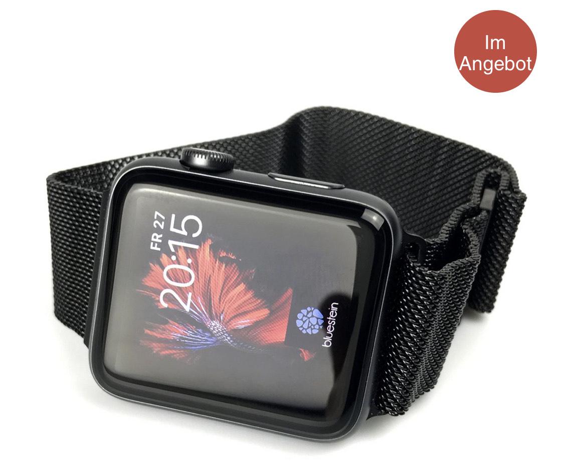 Bluestein Milanaise Edelstahl Armband für Apple Watch 1, 2, 3, 4 und 5 Größen: 38/40 & 42/44 in schwarz und Silber