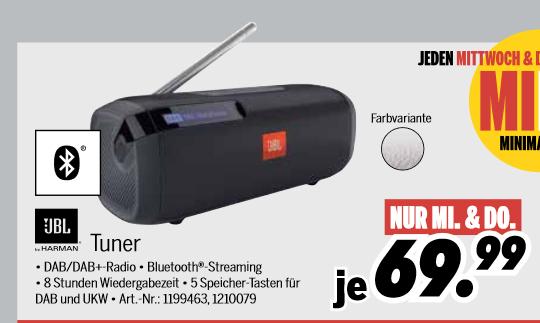 [Medimax Filialen: nur am 12.02. & 13.02.] JBL Tuner - Tragbarer Bluetooth Lautsprecher mit DAB+ und UKW-Empfänger