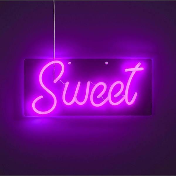 Wofi Wandleuchte Sweet, Neonlicht, LED, 5 W, IP20, Weiß, Pink, inklusive Leuchtmittel