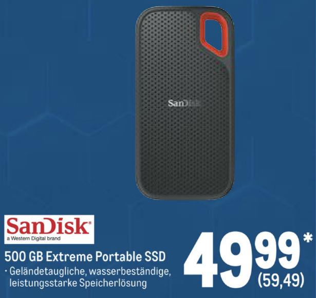 Metro: SanDisk Extreme Portable SSD 500GB mit IP55-Schutz gegen Wasser und Staub für 59,49€ - [Gewerbe o. Verein erforderlich]