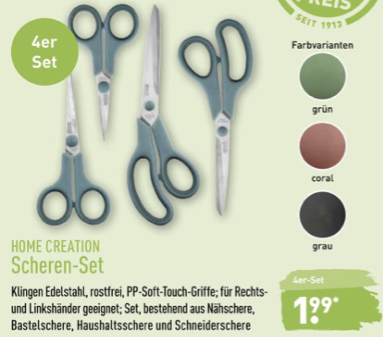 ALDI: 4-teiliges Scheren-Set Haushaltsschere, Nähschere, Bastelschere u. Schneiderschere für zusammen 1,99€