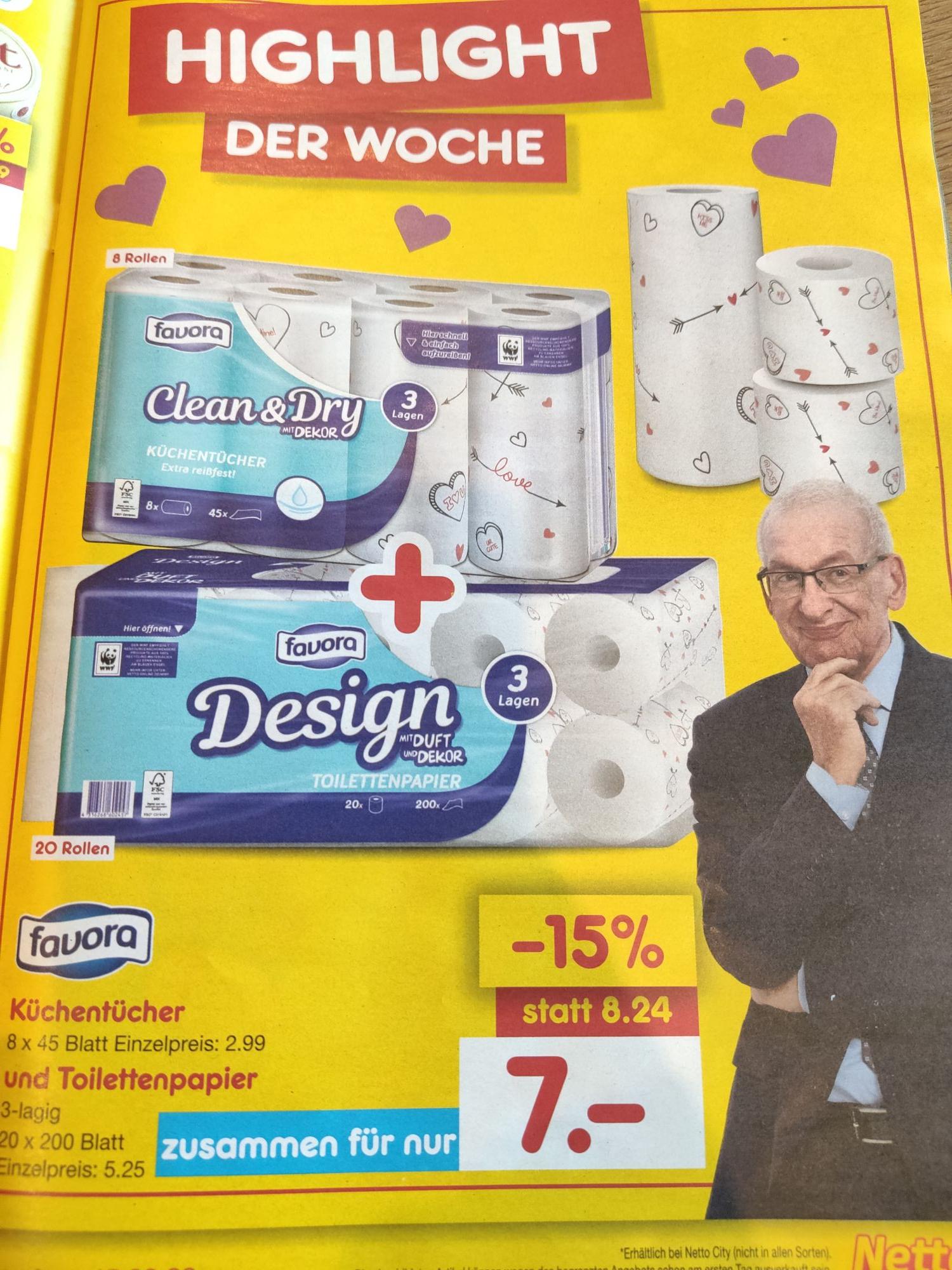 [Netto MD] Küchentücher und Toilettenpapier zusammen für 7€ statt 8,24