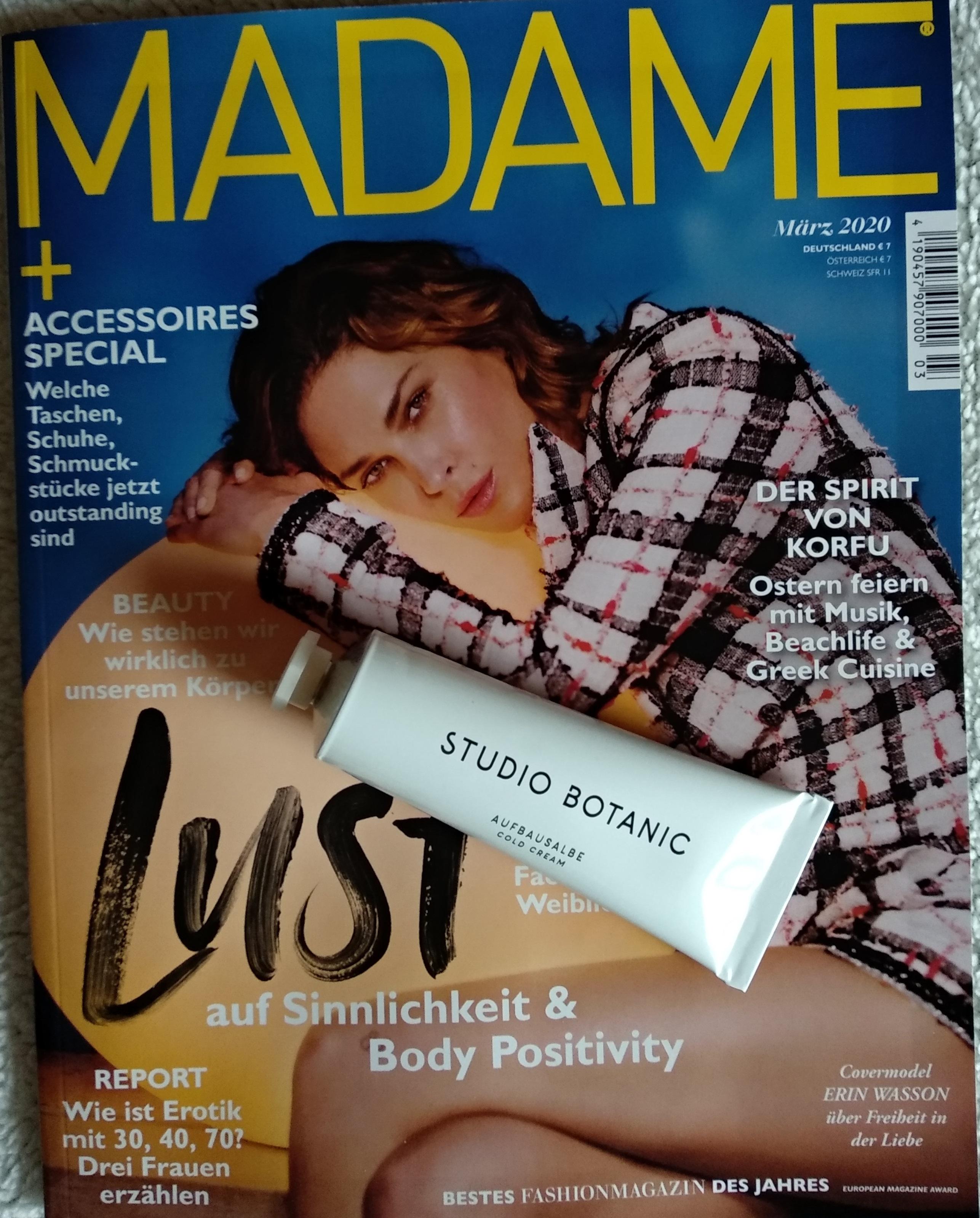 Madame Zeitschrift - Gratis Beigabe Studio Botanic Creme