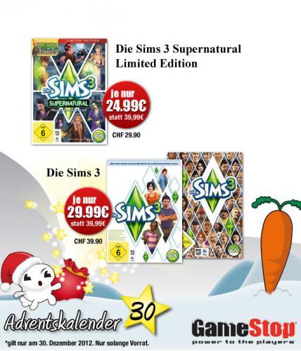 [online] Gamestop Adventskalender - Die Sims 3 (Neuauflage) 29,99€ statt 39,99€