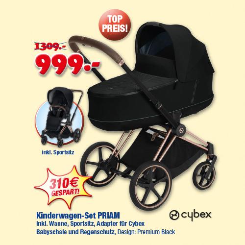 Cybex Priam Rosegold - Kinderwagen set inkl. wanne & sportsitz (adapter + regenshutz)