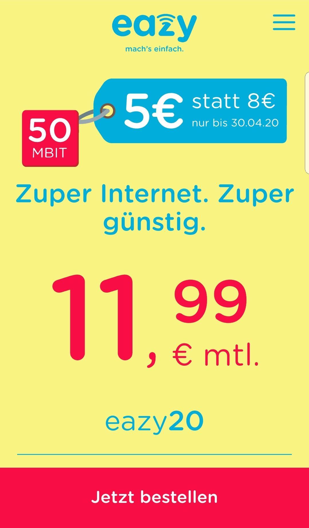 Eazy (Unitymedia) Internetvertrag ab 11.99 Euro, inkl. WLAN Router