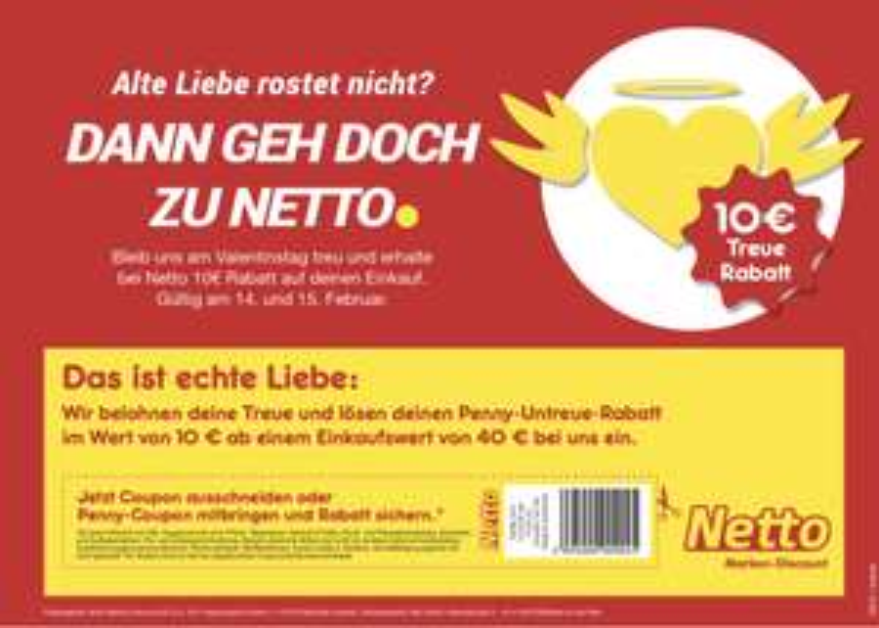 10€ Rabatt bei Netto (40€ Mindesteinkauf) Am 14.02 und 15.02