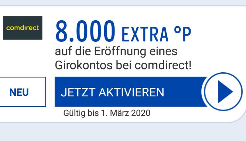 [PayBack Comdirect] 8.000 Punkte für Girokontoeröffnung (personalisiert)