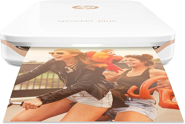 HP Sprocket Plus Mobiler Fotodrucker (Drucken ohne Tinte, Bluetooth, 5,8 x 8,7 cm Ausdrucke) weiß [Amazon]