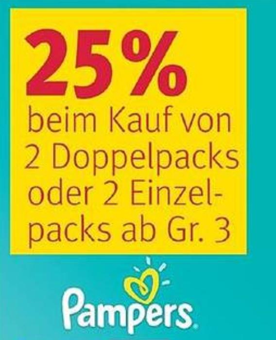 [Rossmann] 25% Rabatt beim Kauf von 2 Pampers Doppelpacks oder 2 Einzelpacks Windeln ab Gr. 3