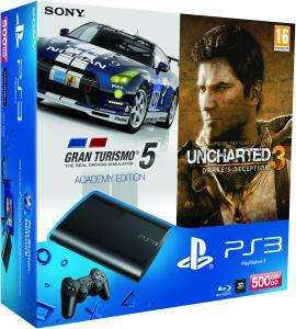 PS3 @the hut - PlayStation 3 Slim (500 GB) - schwarz - GT 5: Academy Edition + Uncharted 3: Game Of The Year Edition