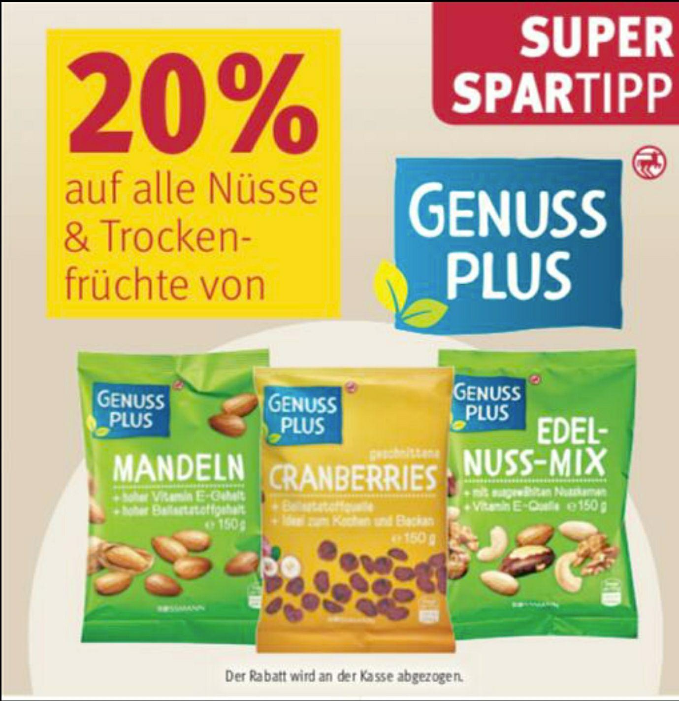 20% auf alle Nüsse und Trockenfrüchte von Genuss Plus [Rossmann ab 17.02]