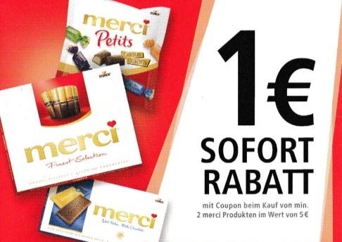 1€ Sofortrabatt beim Kauf von 2 merci Produkten im Gesamtwert von 5€ - gültig bis 30.04.2020