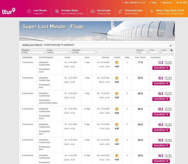 ltur Last Minute Flug von Frankfurt nach Fuerteventura FRA - FUE