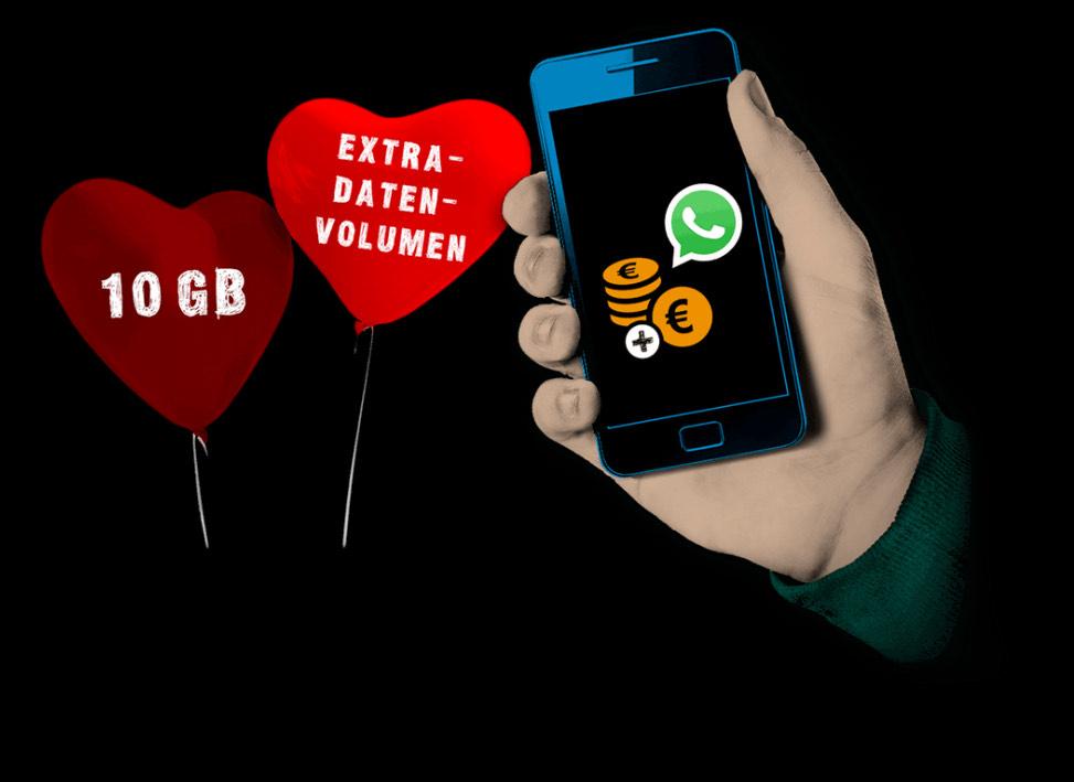 Prepaid: Valentinstags-Special! congstar schenkt dir nach Guthabenaufladung 10 GB Datenvolumen für 30 Tage! Auch Penny mobil / ja mobil