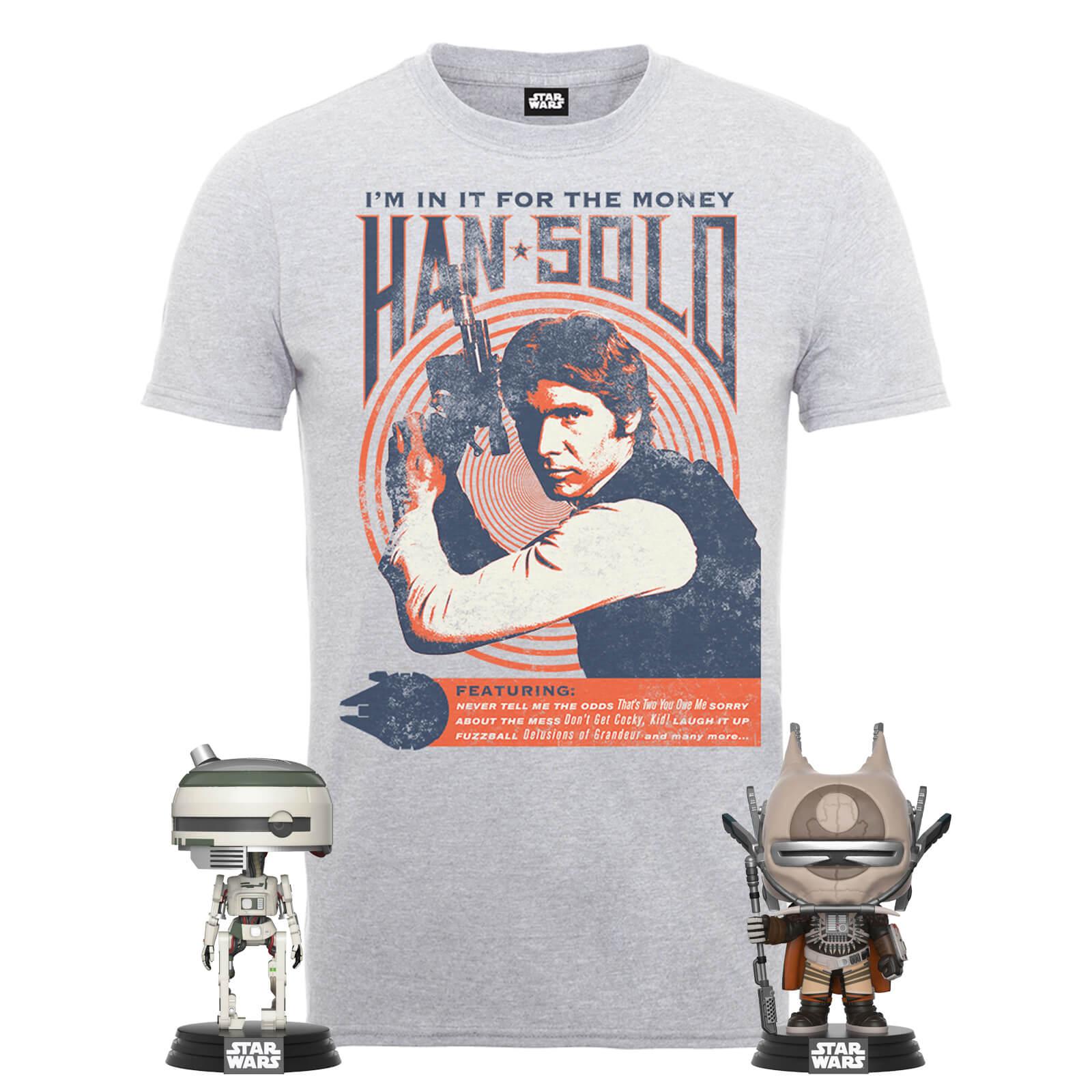 Star Wars: Han Solo T-Shirt + 2 Funko Pop Figuren für 18,48€ inkl. Versand (Zavvi.de)