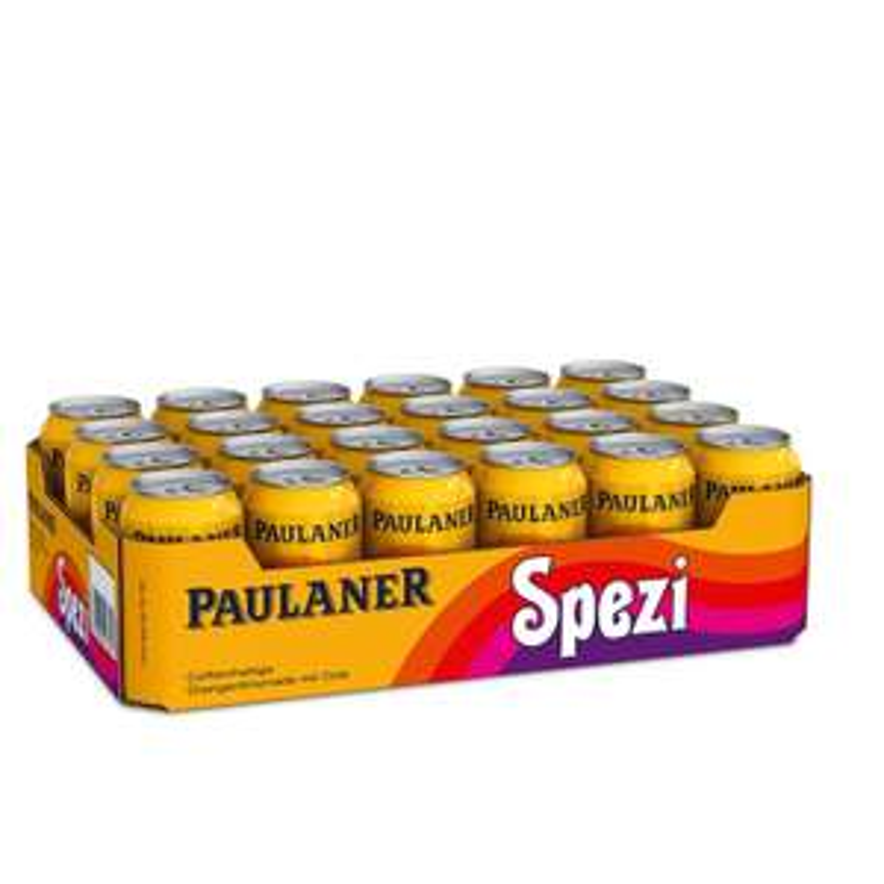 72 Dosen Paulaner Spezi 0,33 Liter. Dosenpreis 37,5ct