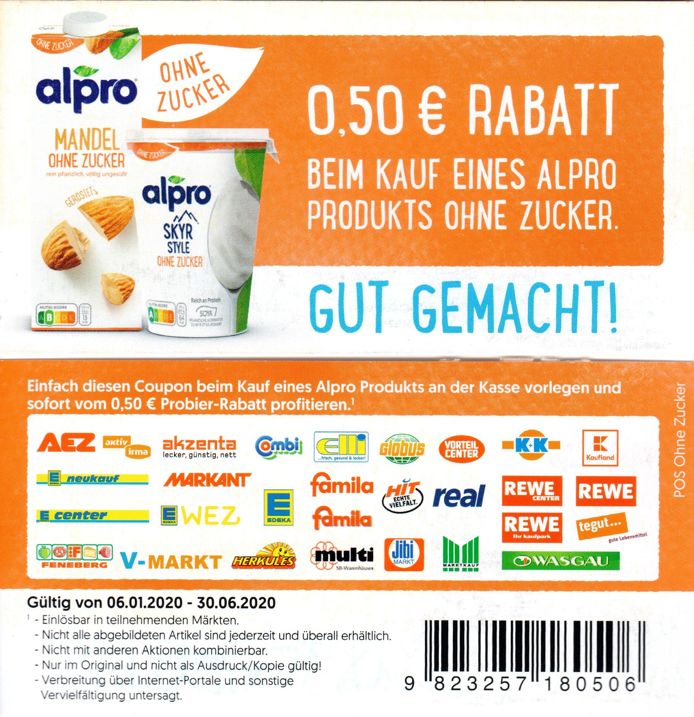 0,50€ Coupon für ein Alpro Produkt ohne Zucker bis 30.06.2020